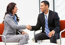 businessman woman shaking hands