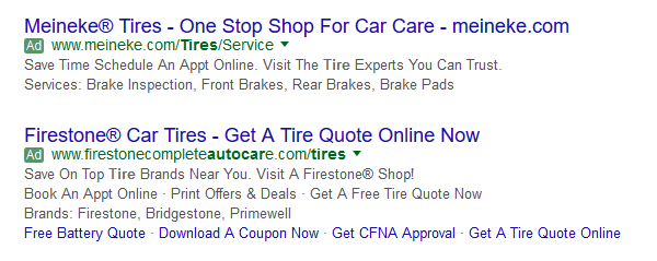 Firestone and Meineke AdWords ads