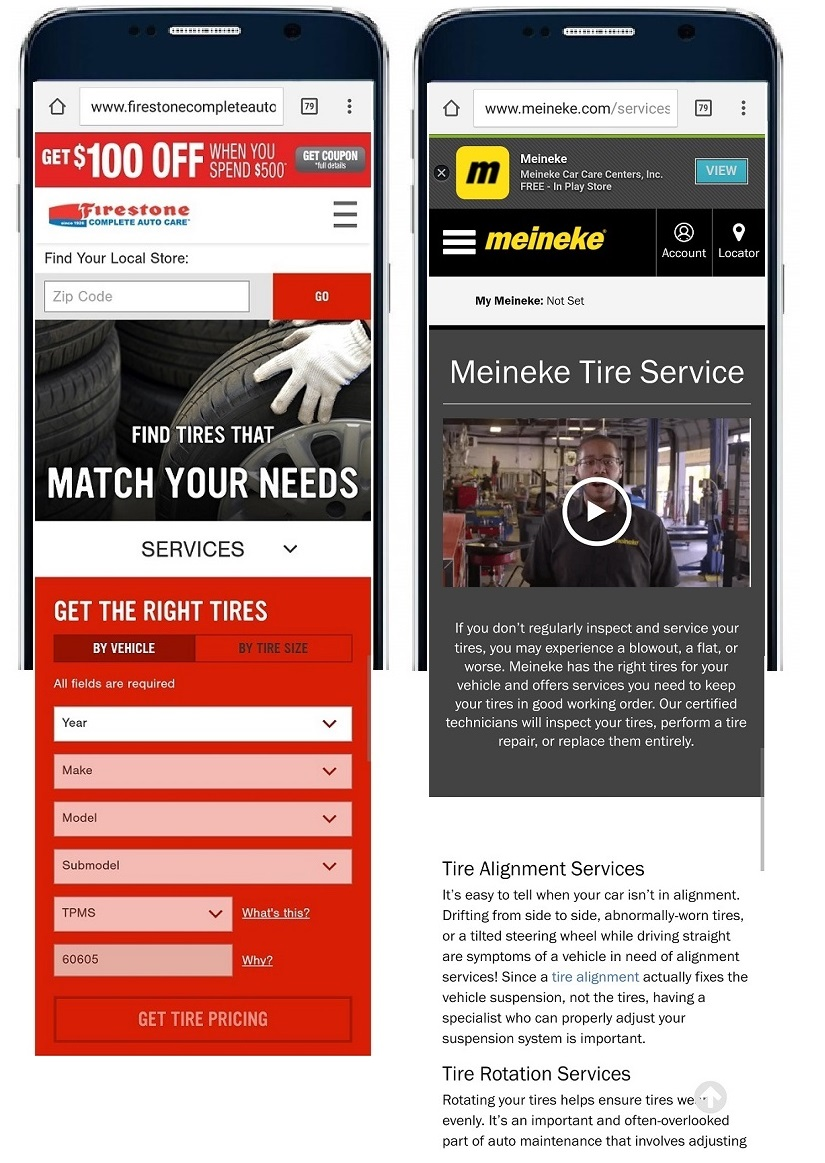 Firestone and Meineke mobile ad landing pages