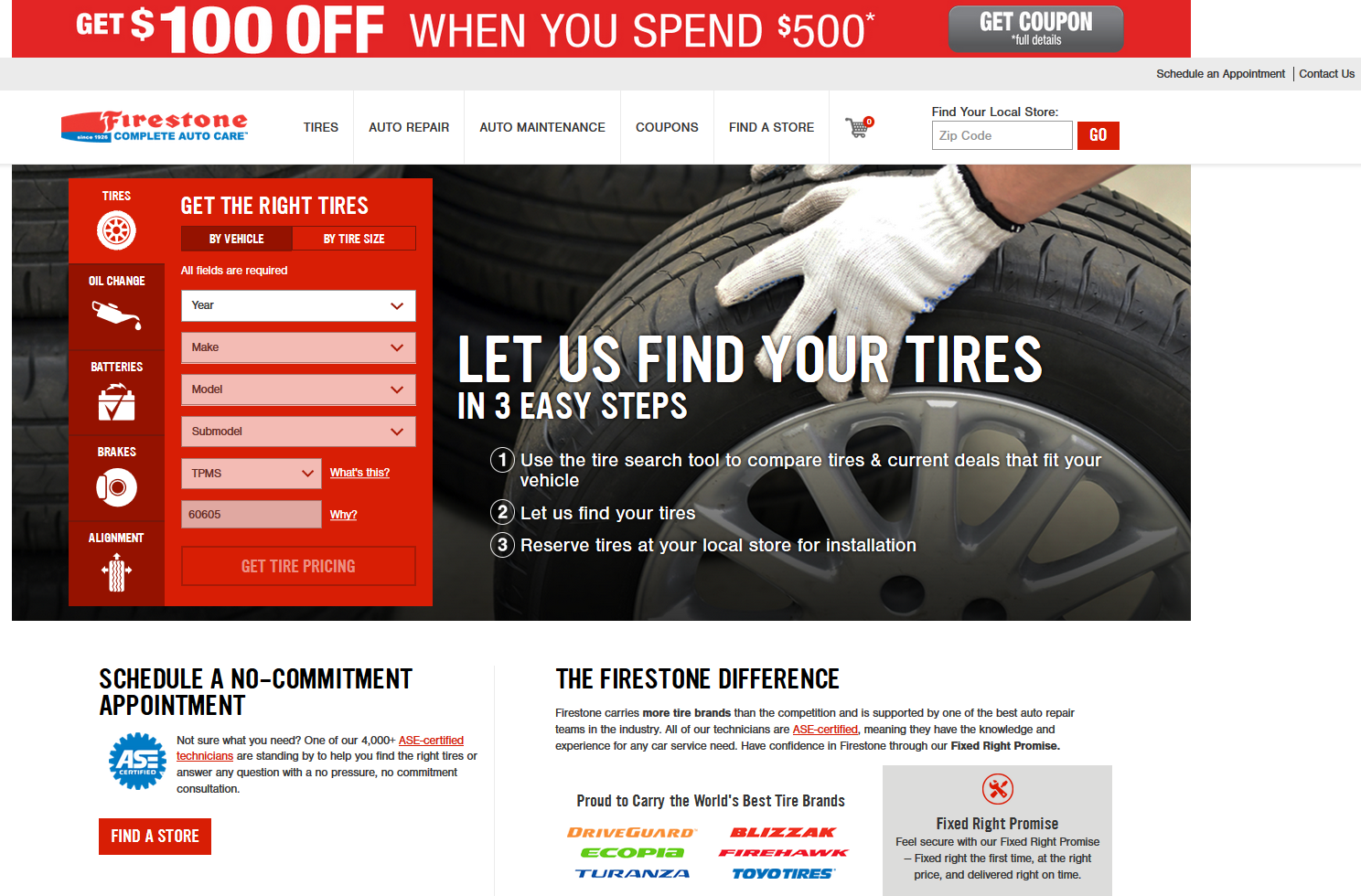 Firestone AdWords landing page