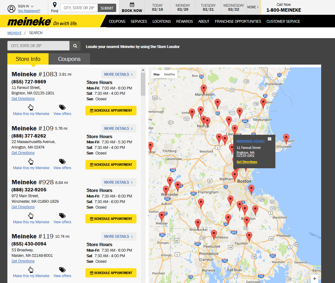 Meineke dealer locator page