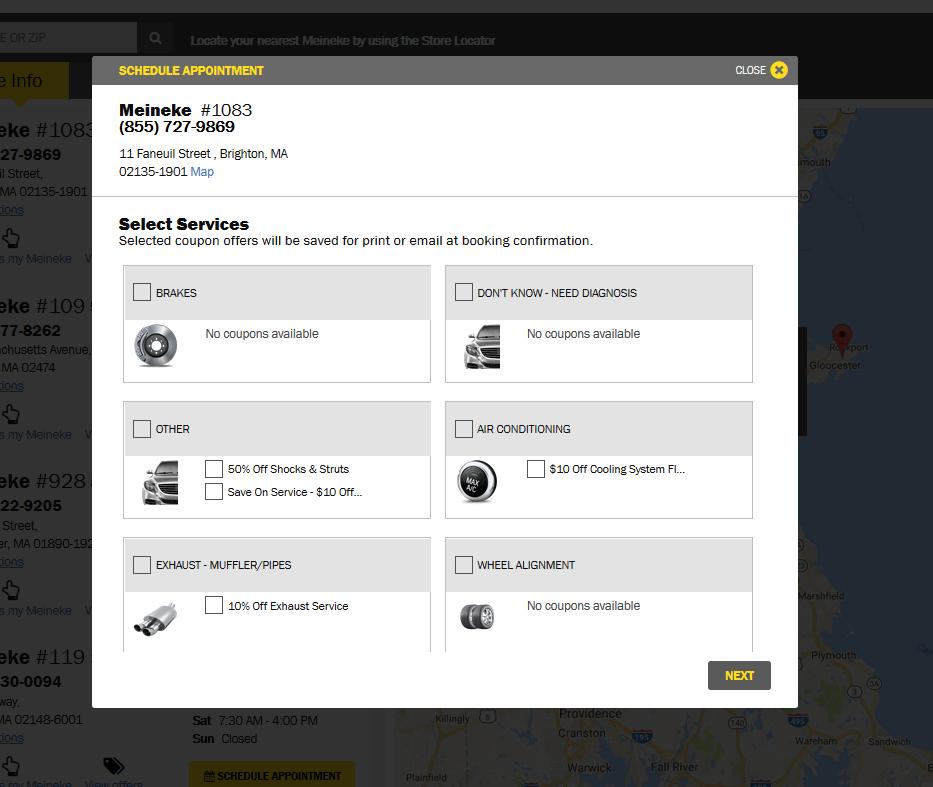 Meineke schedule a service page