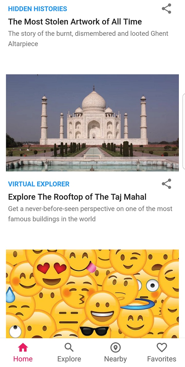 Google Arts and Culture app showing Taj Mahal