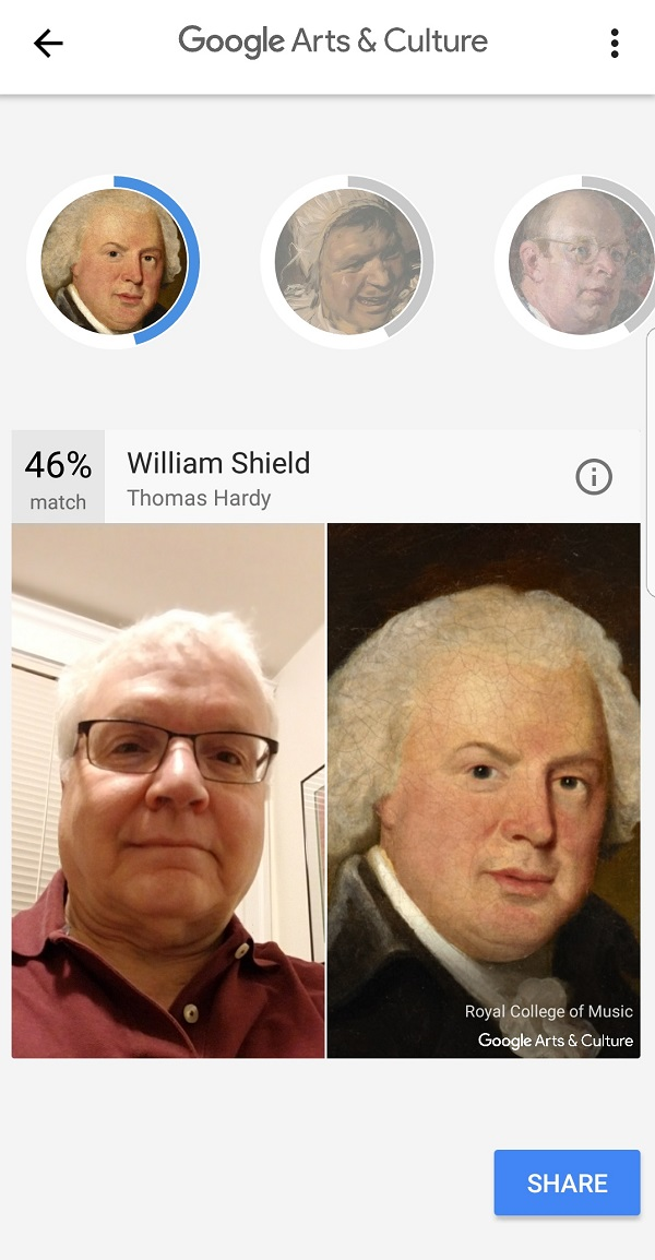 Google app comparing Louis Gudema image with artwork