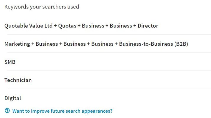 LinkedIn search terms