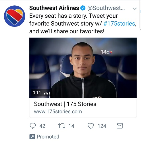 Southwest tweet soliciting good flight experiences